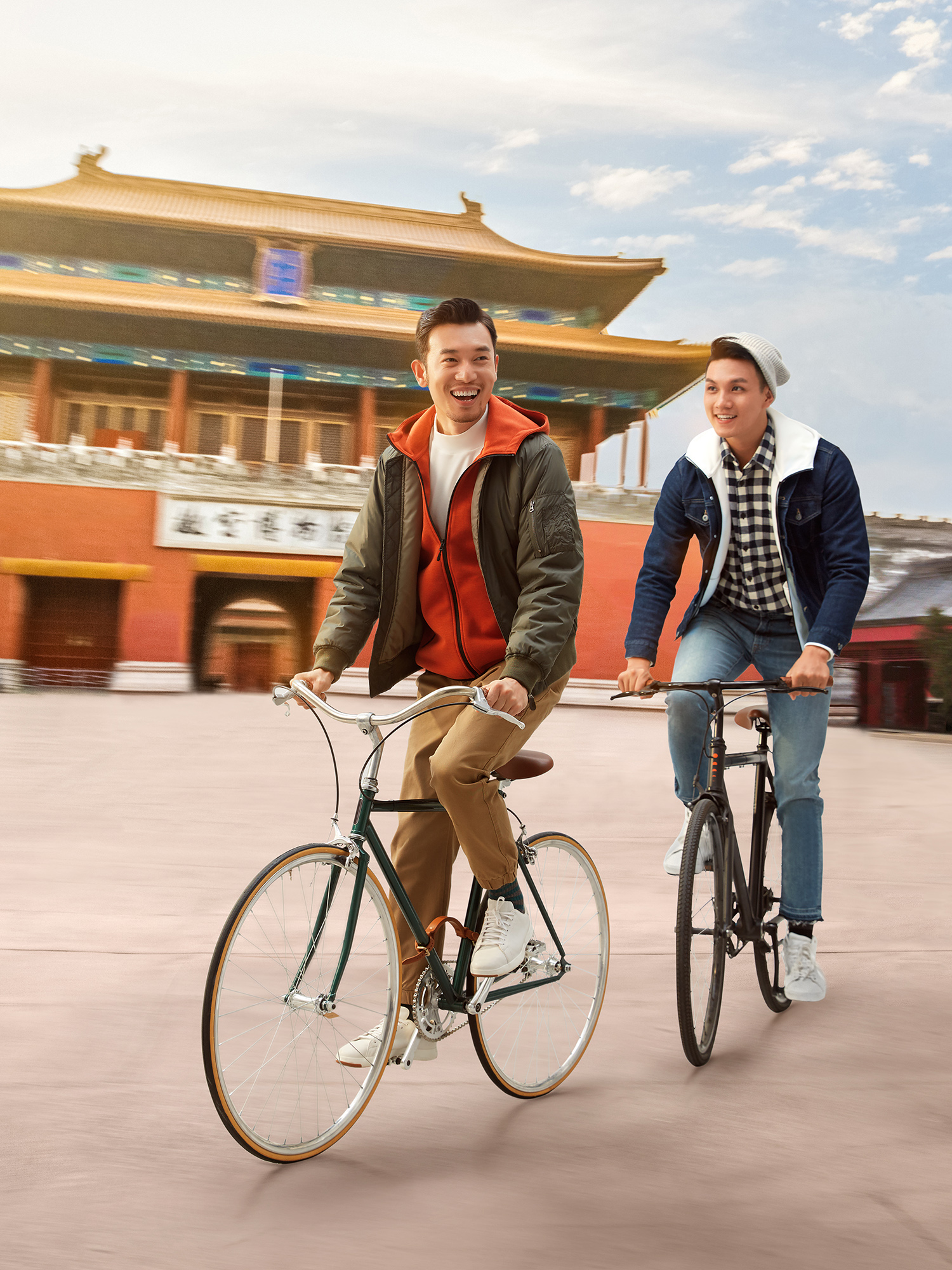 Tourist in Beijing riding bike